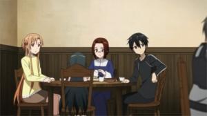 Sacha mange avec Kirito et Asuna
