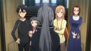 Accueil de Yulier qui vient demander un service à Kirito et Asuna