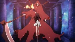 Yui et son épée de flamme face au boss du donjon sous la ville
