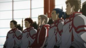 Heathcliff briefe avec ses conseilliers Kirito et Asuna sur le boss du niveau 75