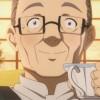 Nishida boit un thé après avoir mangé le repas préparé par Asuna à partir de poissons qu'il a péchés