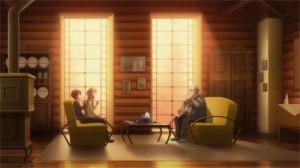 Asuna et Kirito ont invité Nishida pour un thé dans leur maison de l'étage 22
