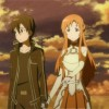 Asuna et Kirito regardent la destruction du monde d'Aincrad