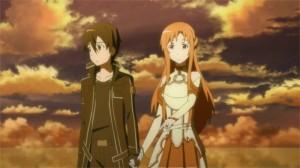 Asuna et Kirito regardent la destruction du monde d'Aincrad