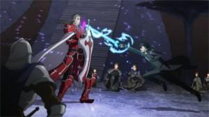 Kirito attaque Heathcliff dans le duel final