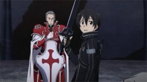 Kirito salue Asuna avant de combattre Heathcliff