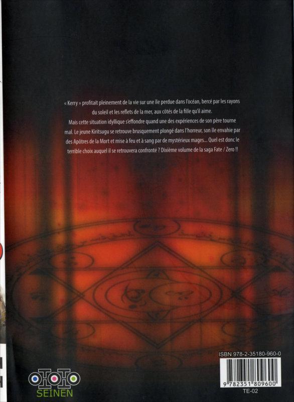 Quatrième de couverture du tome 10 du manga Fate / Zero