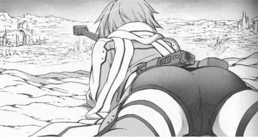 Sinon vise ses ennemis avec son fusil exceptionnel de sniper