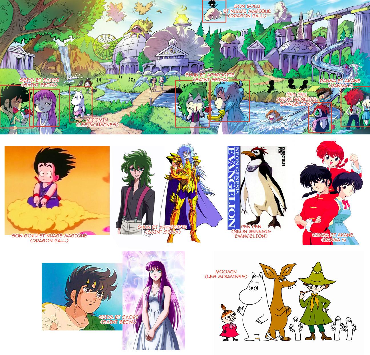 Ranma, Son Goku, Evangelion, Saint Seya - Les légendaires