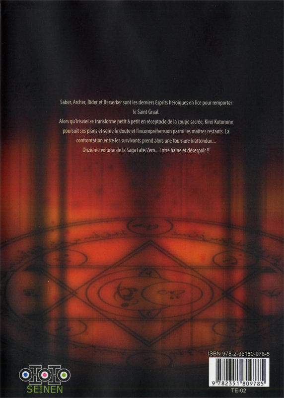 Quatrième de couverture du manga Fate / Zero tome 11