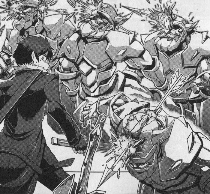 Kirito face à des soldats, il est épaulé par Sinon qui l'aide à distance