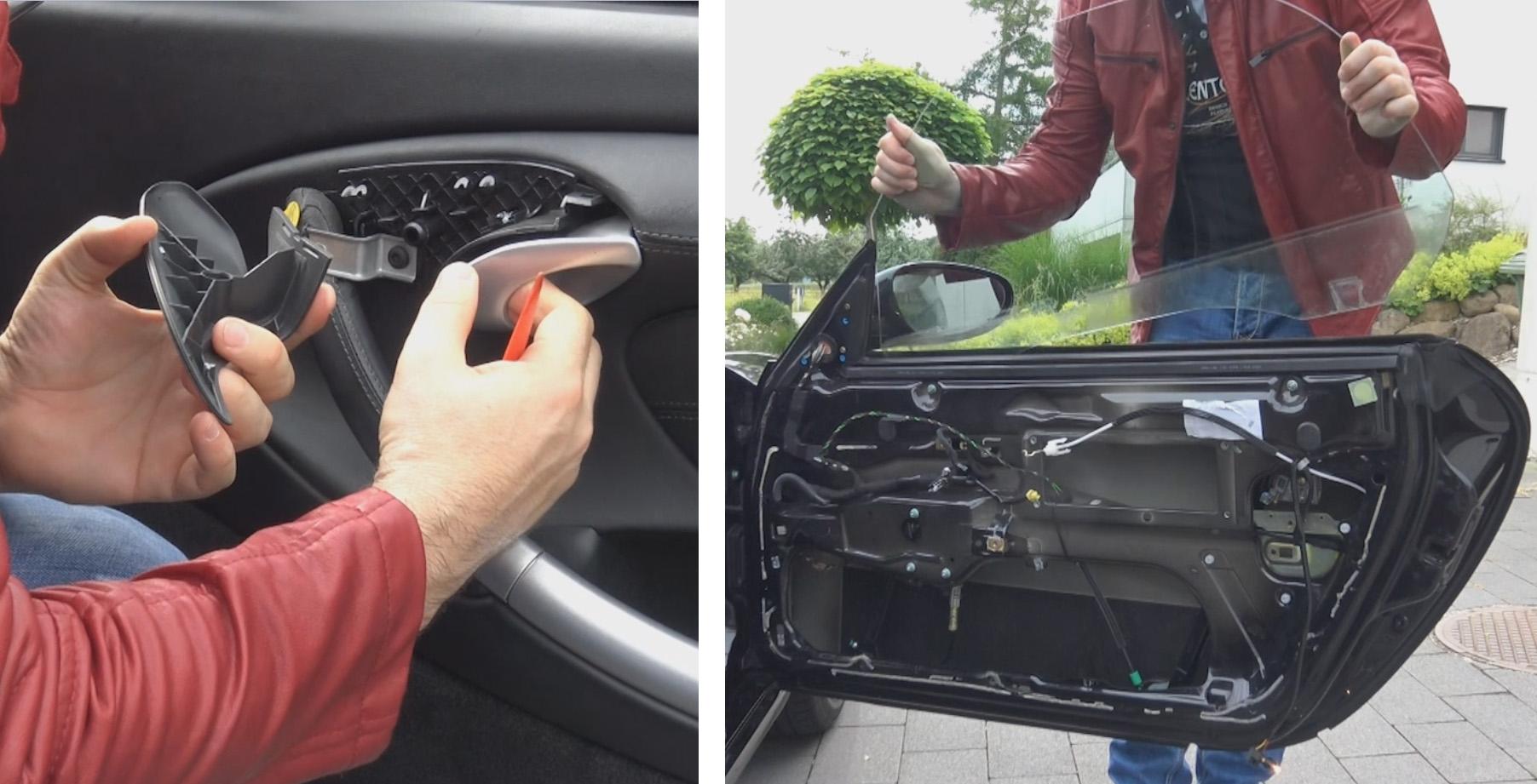 Boxster démonte panneau de porte et vitre électrique