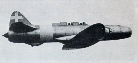 Photo de l'avion Caproni Campini N.1 qui sera peut-être utilisé pour le film Porco Rosso : La dernière sortie