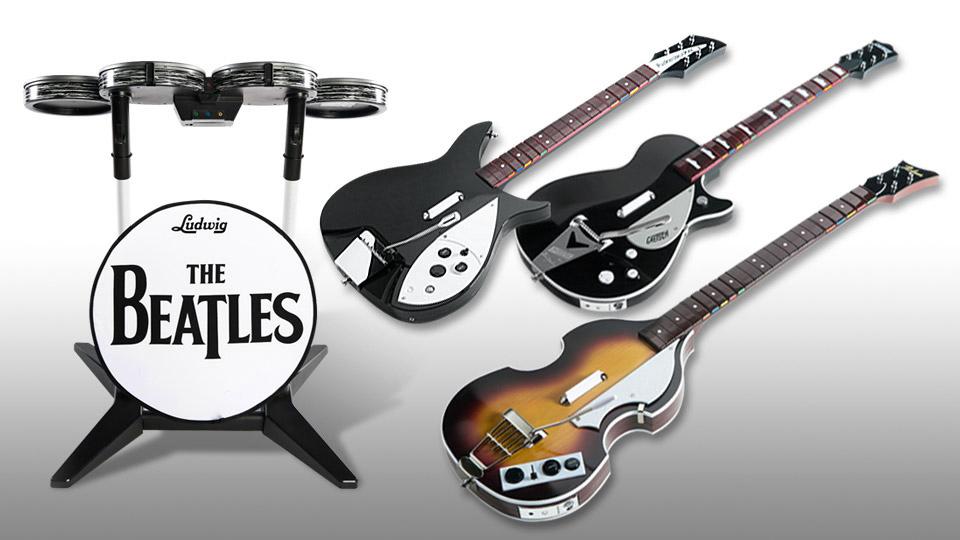 Photo des accessoires avec les instruments proposés pour le jeu rock band Beattles