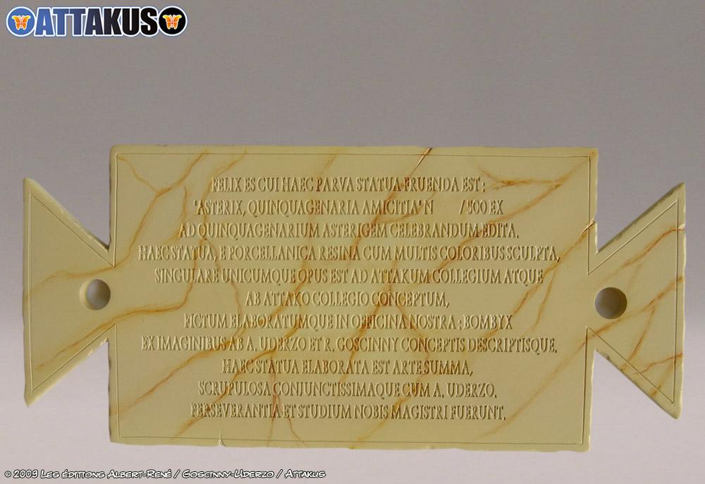 Certificat vendu avec la maquette d'Attakus pour les 50 ans d'Astérix