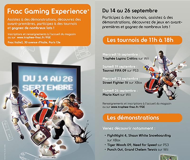 Flyer de la Fnac Gaming Experience