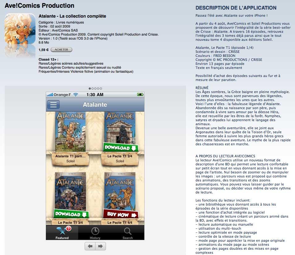 Atalante AVE Comics iTunes App Store
