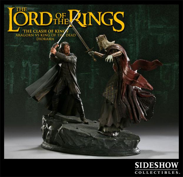 Figurine Seingeur des anneaux réalisée par Sideshow Collectibles : Aragron vs le roi fantome