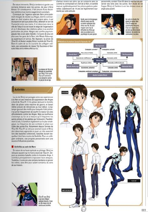 Page sur Shinji Ikari du artbook Evangelion Chronicle (Side A) chez Glénat