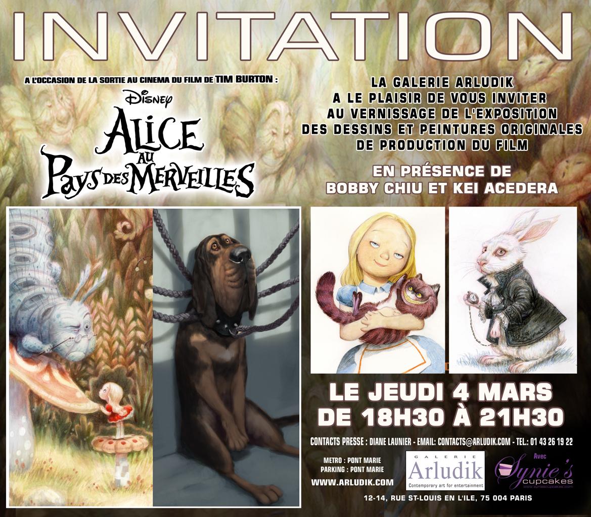 Invitation exposition Alice au Pays des Merveilles