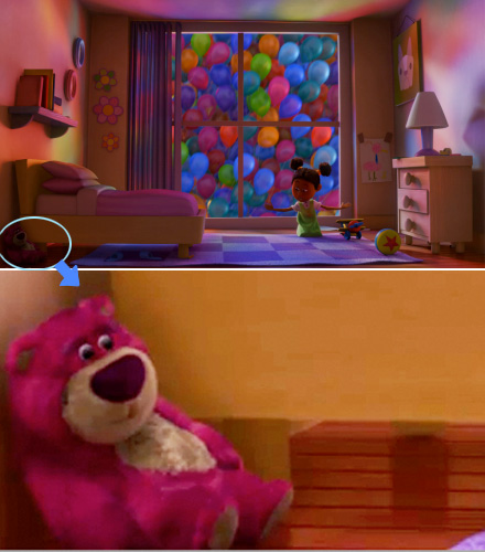 Lots-o Huggin Bear a déjà fait une apparition dans Là-haut (Toy Story 3)