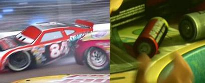 """Sur ce plan, la marque de la pile """"Revolting"""" est la même que le sponsor de la voiture 84 dans Cars"""