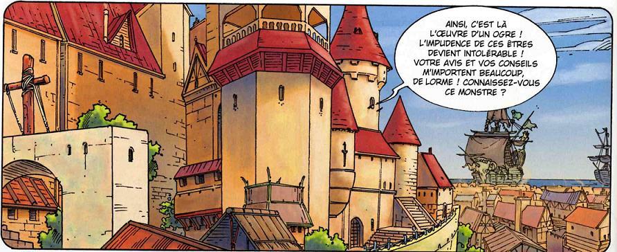 Dessin de ville dans le maître des ogres