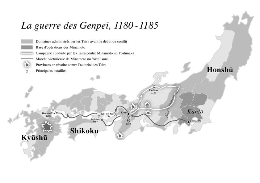 Carte sur l'époque Genpei tirée du livre le Crépuscule des samourais