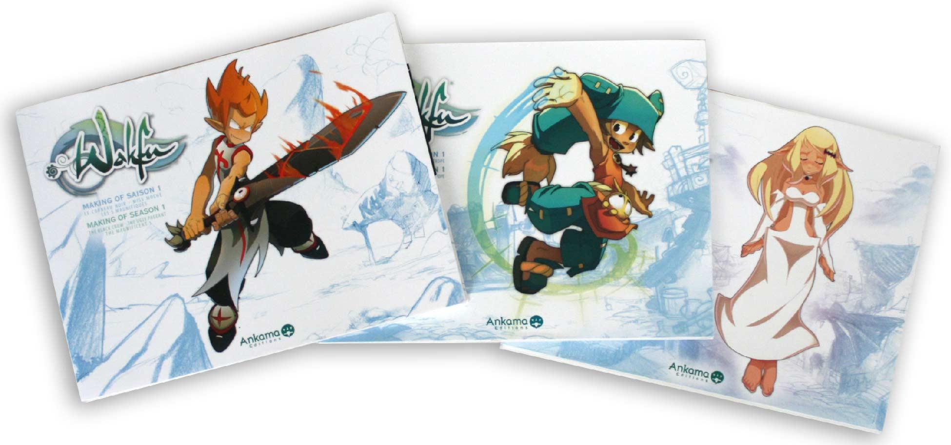 Les trois Art book tirés de la saison 1 de Wakfu