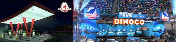 Dinoco, station service dans Toystory, Sponsor dans Cars