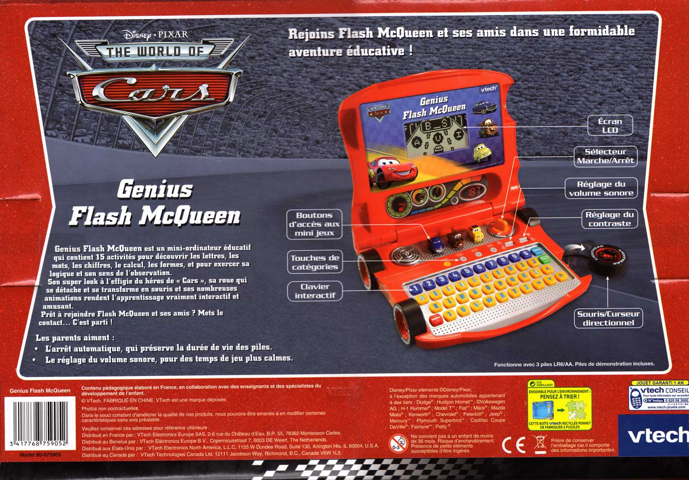 Packaging vu de dessous Genius Flash McQueen (2008) Ordinateur Cars