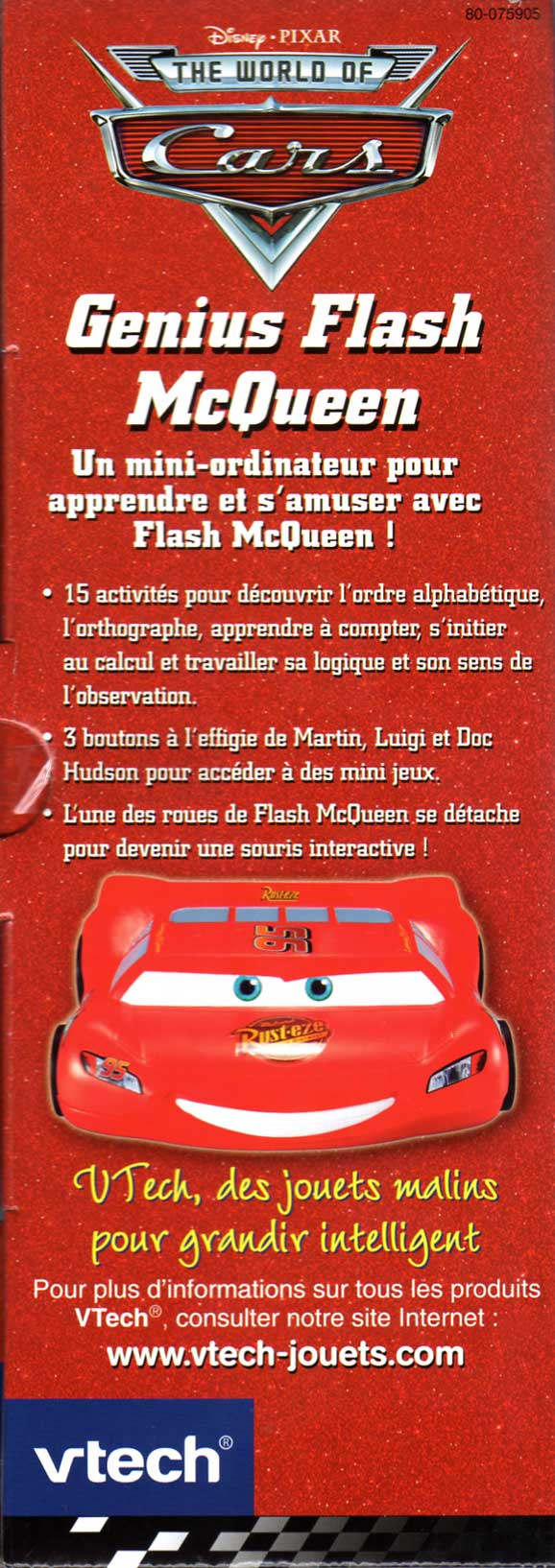 Packaging face gauche Genius Flash McQueen (2008) Ordinateur Cars