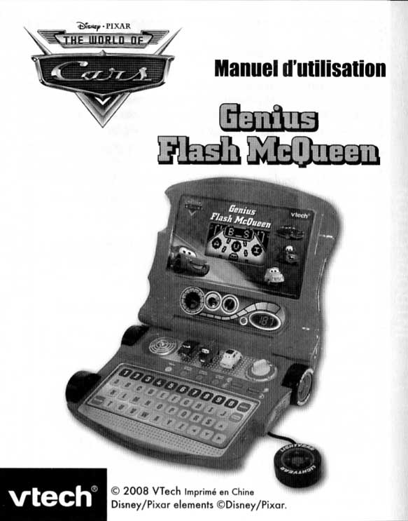Notice page 1 - Vtech : Genius Flash McQueen (2008) Ordinateur Cars