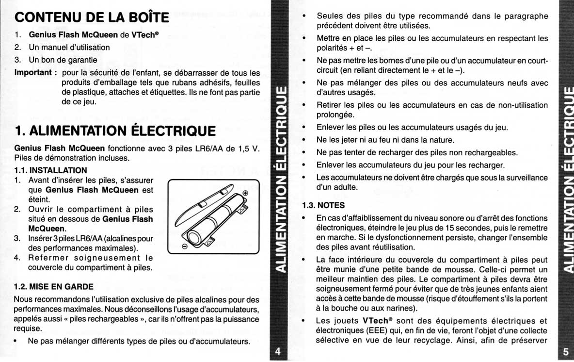 Notice page 4 et 5 - Vtech : Genius Flash McQueen (2008) Ordinateur Cars