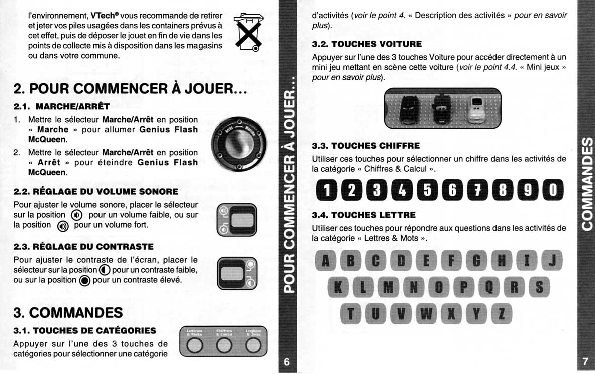 Notice page 6 et 7 - Vtech : Genius Flash McQueen (2008) Ordinateur Cars