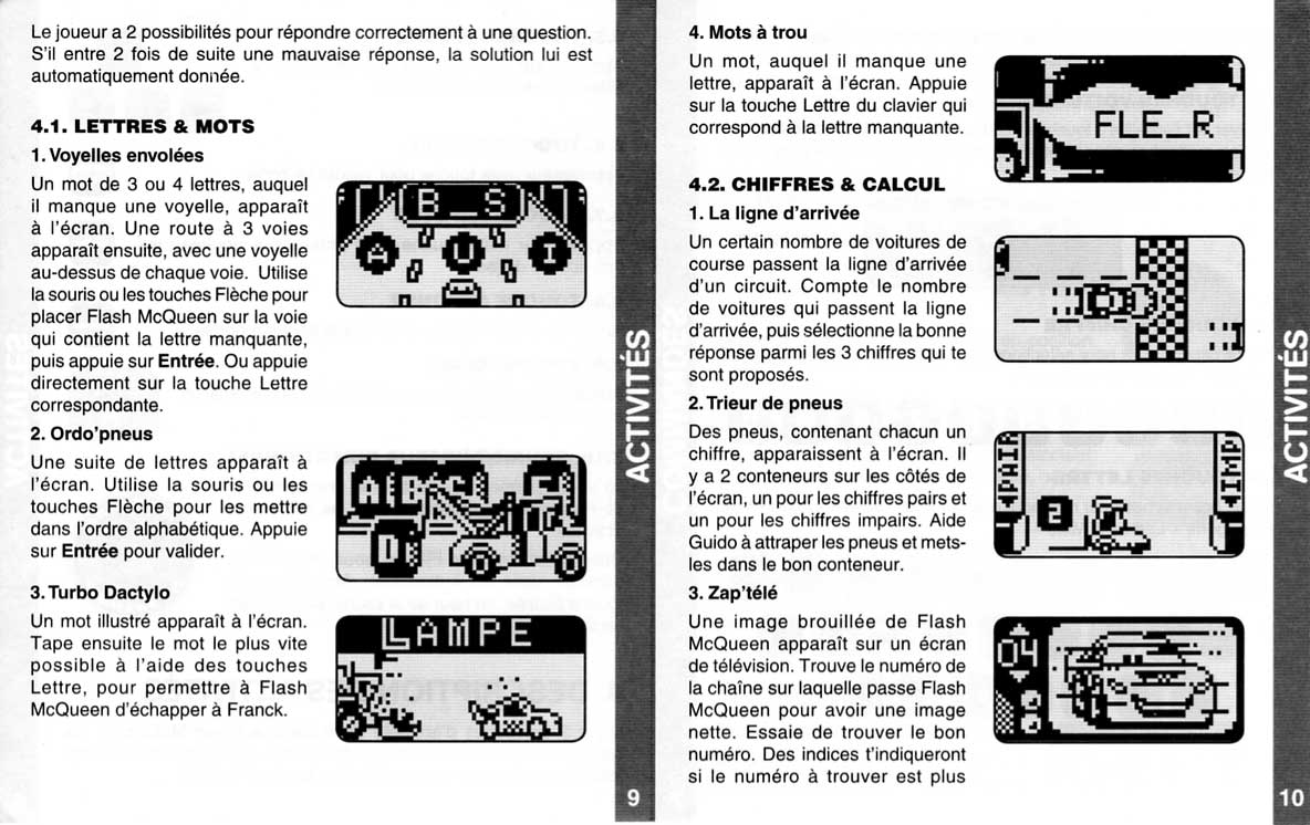 Notice page 9 et 10 - Vtech : Genius Flash McQueen (2008) Ordinateur Cars