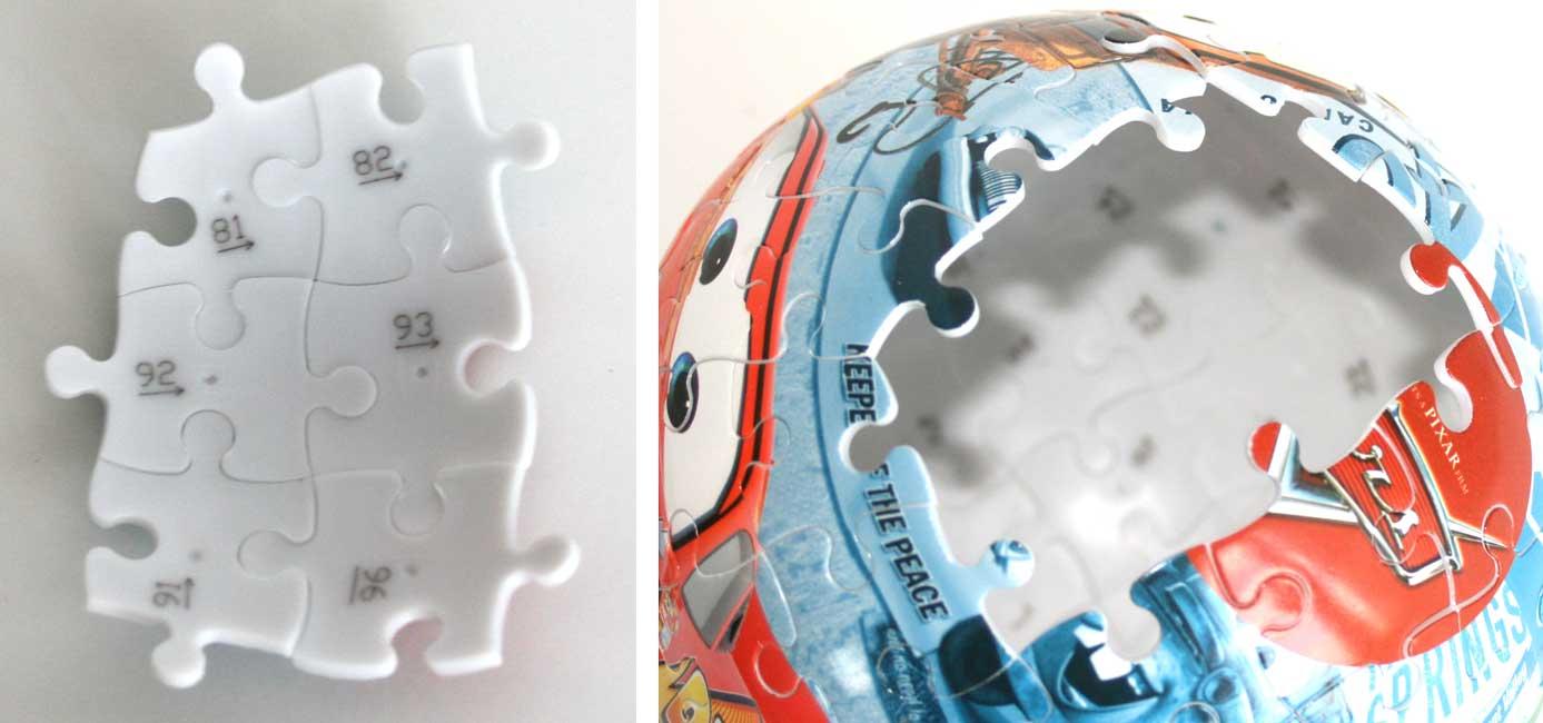 Les pièces sont numérotées pour aider à assembler ce puzzle si l'image ne suffit pas