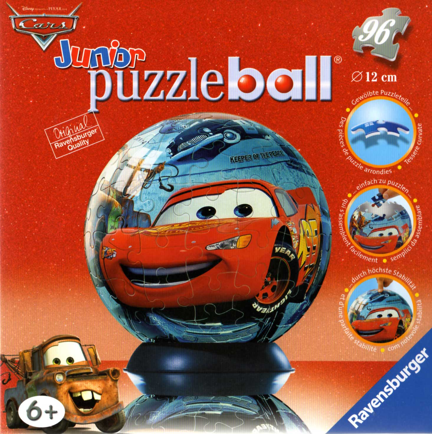 Packaging face Puzzle Ball Ravensburger de 96 pièces (Cars - 2005)
