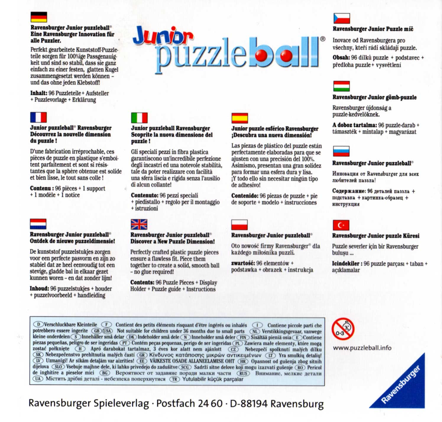 Packaging dos Puzzle Ball Ravensburger de 96 pièces (Cars - 2005)