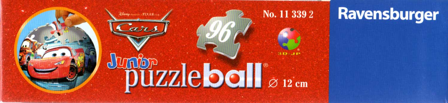 Packaging bas Puzzle Ball Ravensburger de 96 pièces (Cars - 2005)