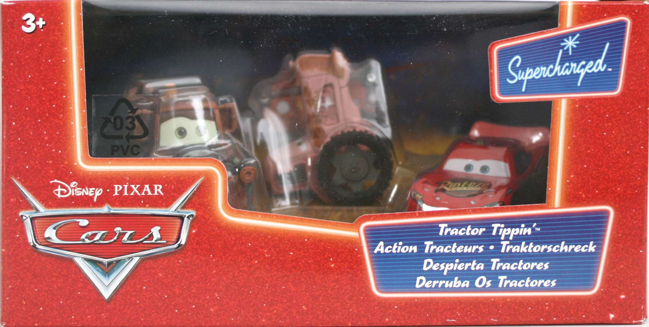 Mattel : Cars Supercharged – Pack Action Tracteur : Flash, Martin, Tracteur