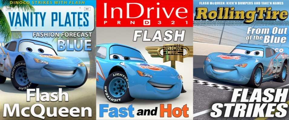 Flash s'imaginant déjà sponsorisé par Dinoco
