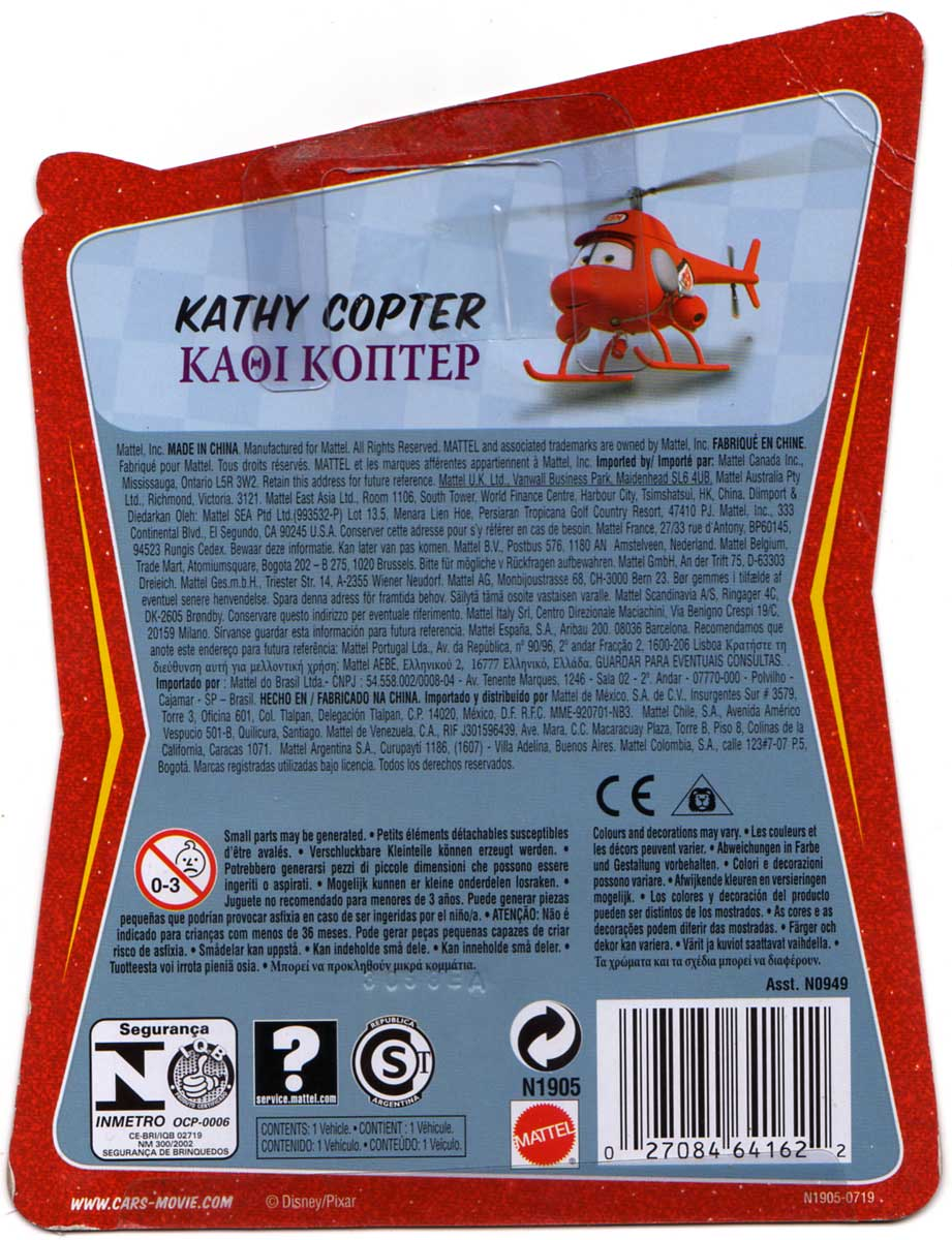 Mattel : Race O Rama – Rouge N°031 – Hélicoptère Kathy Copter