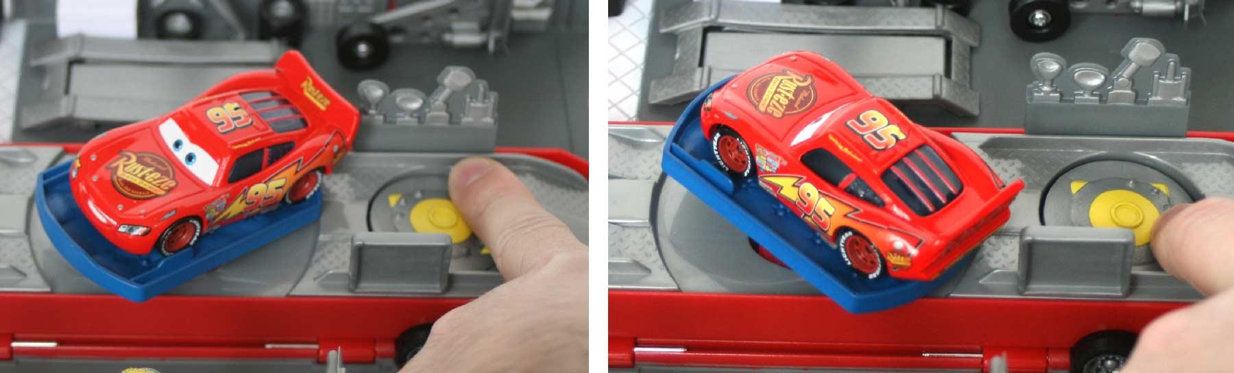 le lit peut bouger grace à la molette située devant ce qui permet de s'en servir de présentoir d'exposition à Flash McQueen
