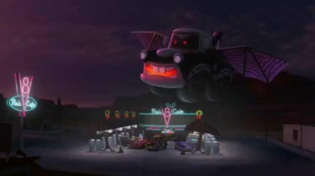à la fin de l'épisode, le Martin gonflable passe au dessus de V8 Café de Flo