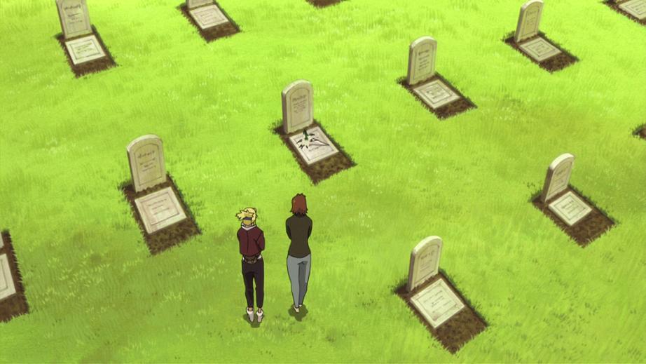 Les héros rendent hommage à une tombe dans le film Conqueror of Shamballah (Fullmetal Alchemist)