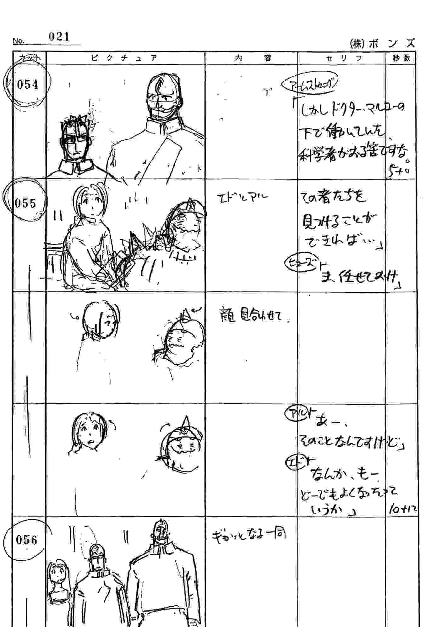 Une page du storyboard de la box collector de Fullmetal Alchemiist