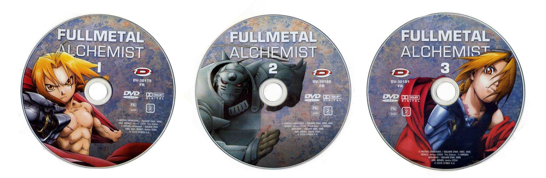 DVD 1, 2 et 3 du digipack avec les épisodes 1 à 15 de la box collector Fullmetal Alchemist