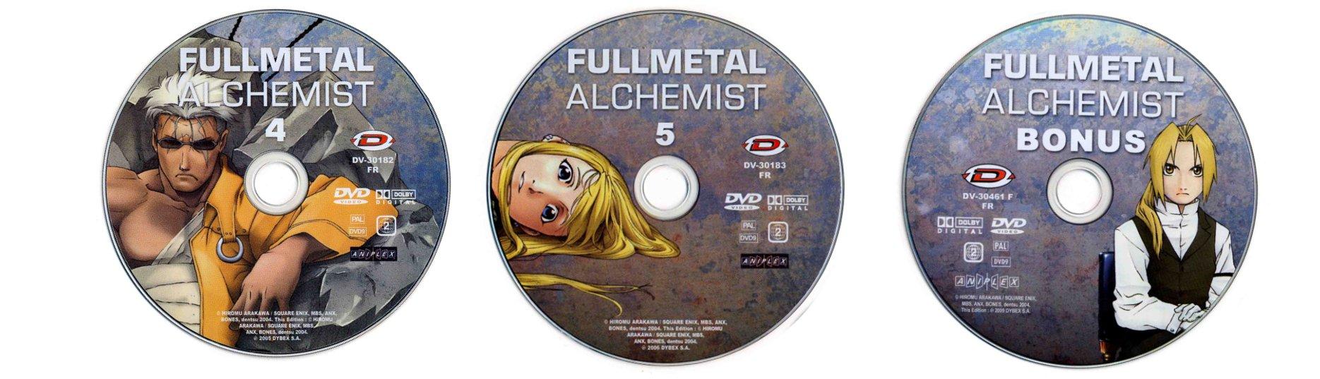 DVD 1, 2 et 3 du digipack avec les épisodes 16 à 25 (plus bonus) de la box collector Fullmetal Alchemist