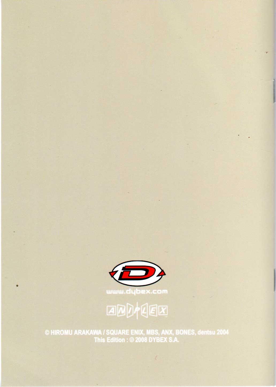 Dos de la couverture du livret de Story board Fullmettal Alchemist Box DVD collector 1
